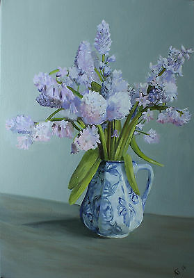 'Bluebells' by Jabore Oil painting floral original canvas still life flowers art