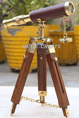Vintage Brass Telescopes Leather Wrap Royal Navy Telescope Astronomy W/ Stand MC