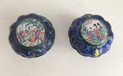 2 Small Antique 18th Century Hand Painted Enamel Chinese Canton Lidded Pots