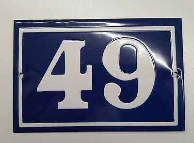 ANTIQUE FRENCH ENAMEL HOUSE NUMBER SIGN Door gate plaque street plate 49