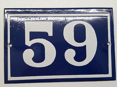 ANTIQUE FRENCH ENAMEL HOUSE NUMBER SIGN Door gate plaque street plate 59