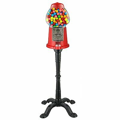 Vintage Candy Gumball Machine Vending Gum Dispenser Bank Glass Stand Cast Metal