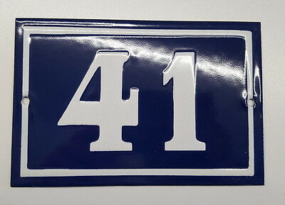 ANTIQUE FRENCH ENAMEL HOUSE NUMBER SIGN Door gate plaque street plate 41