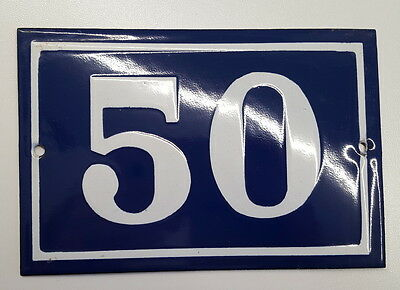 ANTIQUE FRENCH ENAMEL HOUSE NUMBER SIGN Door gate plaque street plate 50