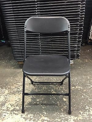 (50) Used Commercial Plastic Folding Chairs Black Stackable Party Chair