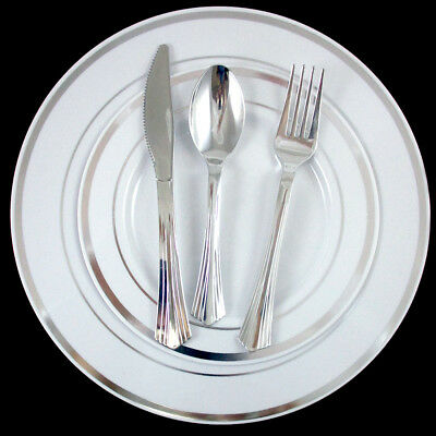 240 People Dinner Wedding Disposable Plastic Plates Party Silverware Silver Rim