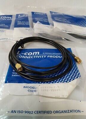 Lot of 5 - LCOM CCS174-7.5 RG174/U Cable SMA Male/Male Connectors 7.5 FT 50 Ohm