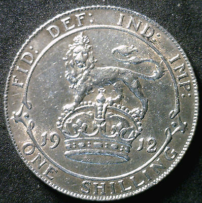 1912 Silver Shilling Great Britain UK Coin AU