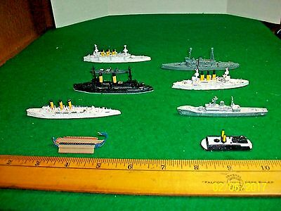 Miniatures Model Metal Ships  Lot of Nine Various Boats and Ships