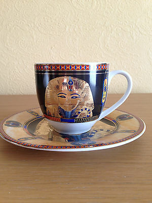 Egyptian Tea Coffee Cup and Saucer Blue and Gold 6 Set