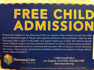 TWO Discovery Cube Los Angeles child tickets LA science center kid children pass