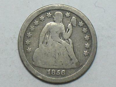 1856 Small Date Seated Liberty Dime - United States Silver Coin