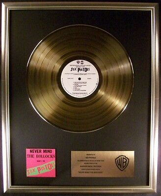 Sex Pistols Never Mind The Bollocks Gold LP Gold Non RIAA Record Award