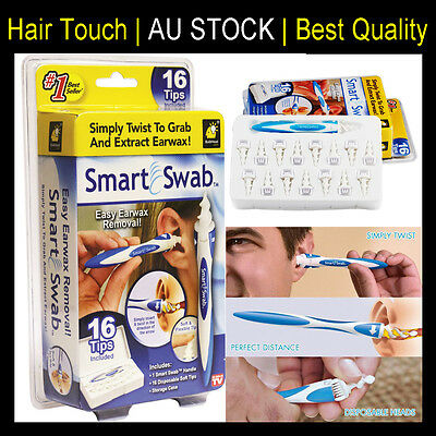 2 x Smart Swab Ear Wax Cleaner Removal Earwax Remover Spiral Soft Safe Tool