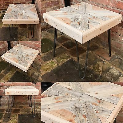 Pallet Wood Side Table With Hairpin Legs Reclaimed Industrial Style Rustic 50x50