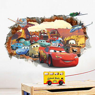 Cars 3D Broken Wall Decals PVC Art DIY Stickers Home Children Nursery Room Decor