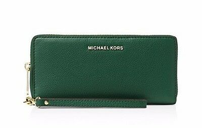 NWT $168 MICHAEL KORS Bedford Leather Continental Wallet Wristlet Moss Green