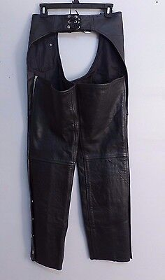 Women's Leather Chaps Size SMALL Motorcycle Riding Black American Top Genuine