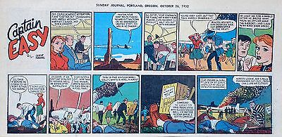 Captain Easy by Leslie Turner - Lot of 7 color Sunday comic pages from 1952