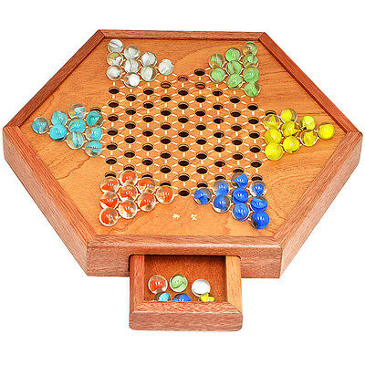 """Chinese Checkers, 12.5"""" Fine Wooden Chessboard, Classic Marbles, family game set"""