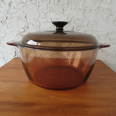 Corning Ware Visions Amber 4.5L Stock Pot Pyrex Lid Glass Cookware France