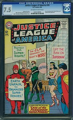 Justice League Of America # 28 Cgc 7.5 Ow/wh - Movie Coming This November!!!!!!!
