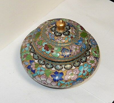 Small Gold Gilt Chinese Cloisonne Open Enamel Floral Jar Bowl Box