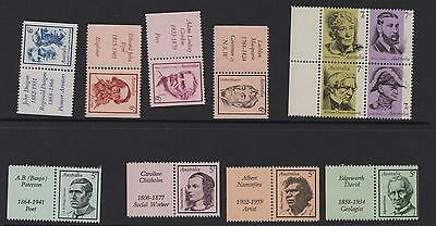 4 x 5c FAMOUS AUSTRALIANS STAMPS withTABS + 4 x 6c STAMPS + BLOCK 7c STAMPS MNH