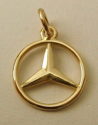 SOLID 9ct YELLOW GOLD 3D MERCEDES BENZ SIGN LOGO CAR Charm/Pendant
