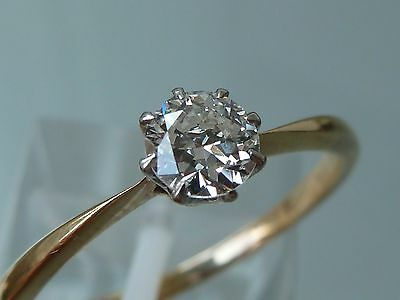 STUNNING 1930's DECO  DIAMOND SOLITAIRE RING 18CT PLATINUM .40CT