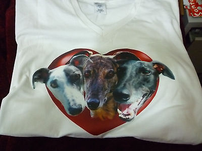 Greyhounds in Heart Tee Shirt T shirt v neck white, chest 42 in tshirt Dog