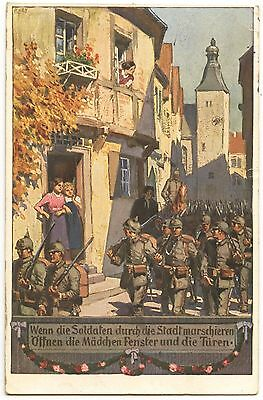 WW1 German Postcard When The Soldiers March Through Town 1915 (482)