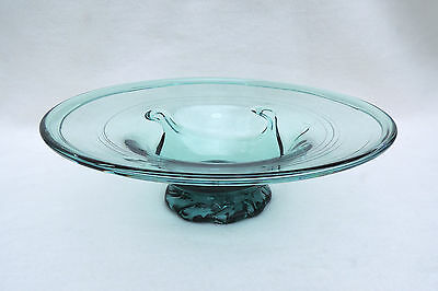 South Jersey Aqua Clevenger Large Lilypad Bowl with crimped foot circa 1930-1945