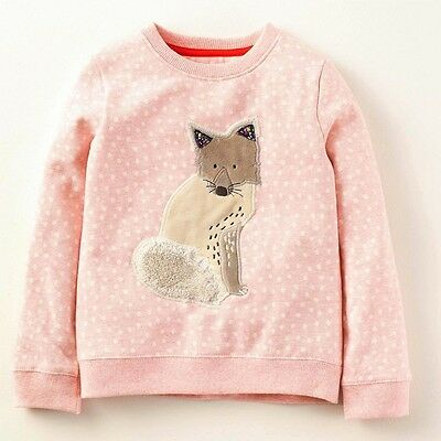 Jumping Baby Girls Pink Fox Fleece Top Sweatshirt Blouse Outfit age 2 3 4 5 6 7
