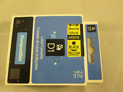 Compatible Dymo D1 12mm x 7m black on  yellow Label tapes (45018) VAT included