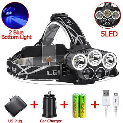5 T6 LED 40000 Lm 18650 Phare 5 Modes 2 Lampe bleue + Chargeur USB /voiture DD