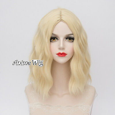 Lolita Royal Light Blonde Women Fashion 35CM Short Wavy Cosplay Wig + Wig Cap
