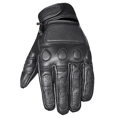 New Vintage Mens Leather Cruiser Protective Motorcycle Riding Racing Gloves