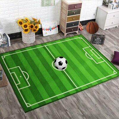 Kids Large Small Bedroom Football Pitch Floor Rug Nurcery Boys Play Mats Carpets