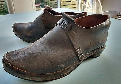 Antique Pair of Traditional Lancashire Wooden and Leather Clogs c 19th Century