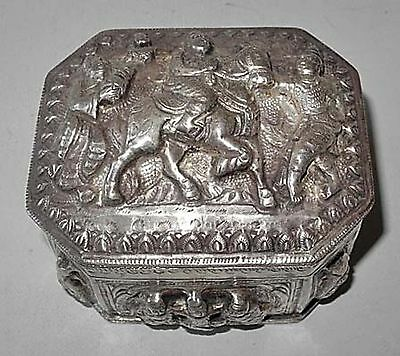 19th CENTURY BURMESE REPOUSSE SILVER BOX WITH HIGH RELIEF WITH RIDER ON HORSE