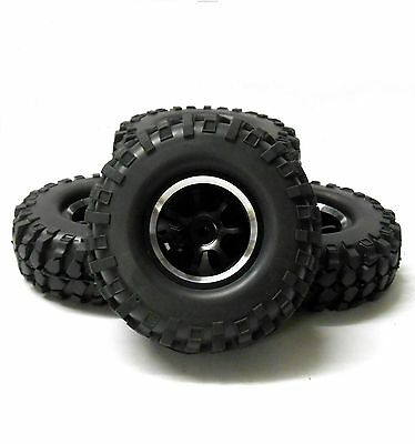 98010 1/10 Off Road Rock Crawler RC Wheels and Tyres Black 7 Spoke x 4 Alloy