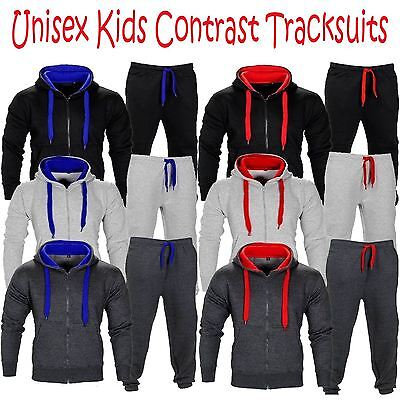 Unisex Boys Girls Kids Sweatshirt Hooded Hoodie Top Jogger Bottom Tracksuit Set
