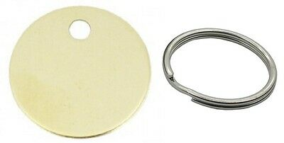Brass Coloured Key Pet Dog Tag - 20 25 or 30mm - Available with 20mm Split Rings