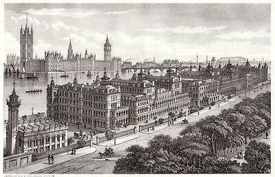 London, St Thomas's Hospital antique ready mounted engraving 1880s STUNNING