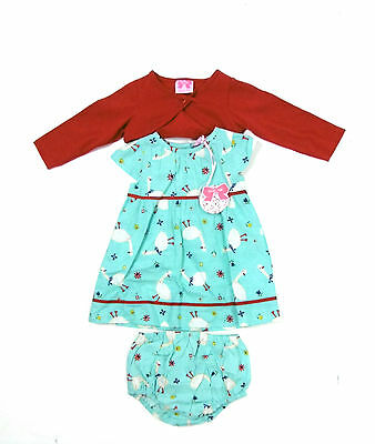 Mini Moi Baby Girls 3 Piece Geese Dress Knickers Bolero Outfit Set 6 - 24 Months