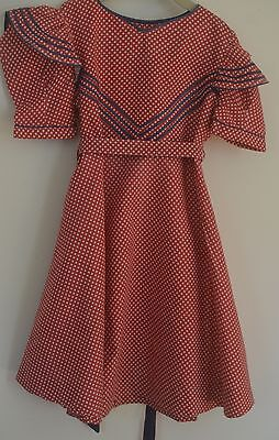 "DELIGHTFUL VINTAGE 1950S GIRL'S DRESS ""Kate Greenaway Frock"" RED WHITE & BLUE SS"