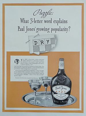 1937  PRINT AD PAUL JONES WHISKEY 3 letter word explains growing popularity, dry