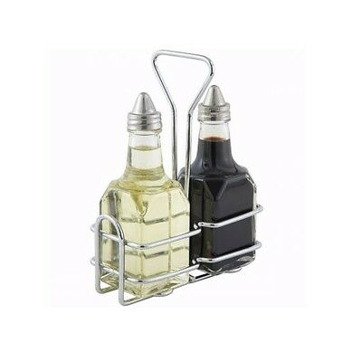 Winco G-104S, Oil and Vinegar Cruet Set with Rack and Two 6 Oz. Bottles