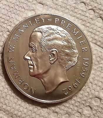 1972 Jamaica $5 - Norman W  Manley Silver Proof Coin